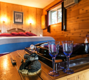 Inside shot of one of Barrier Bay's romantic cabins.