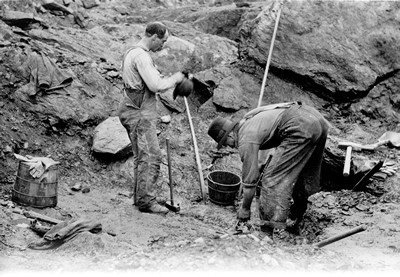 Workers at Penniac Gold Mines near Star Lake, c. 1910 - Manitoba Archives